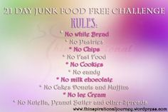 21 junk food free Challenge FIT-spirational Journey