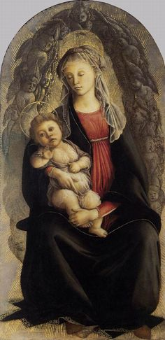 Madonna in Glory with Seraphim by BOTTICELLI, Sandro #art, her passion and love for her child (the plump nature of a baby was a sign of love by the nurturing mother) is depicted by the artist in her strong embrace of the child as she reflects on the pain her child will suffer later in life, surrounded by the choir of angels - Seraphim, we saw this in Ufizi museum, Florence, Italy - amazing!