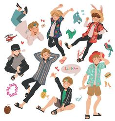 was a blessing People Illustration, Character Illustration, Illustration Art, Printable Stickers, Cute Stickers, Overlays, Ideias Diy, Bts Drawings, Kpop Fanart