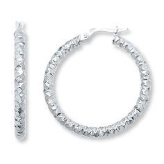 Textured Hoop Earrings 14K White Gold 32.1mm