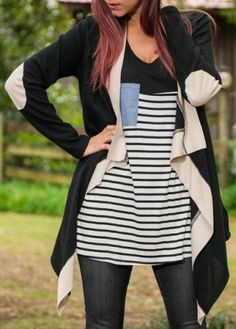 Fashionable Collarless Color Block Asymmetric Irregular Cardigan For Women