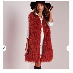Red over sized faux fur vest Shaggy fur vest Missguided Jackets & Coats Vests