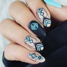 Geometry stamping plate nails with nice nail shape, do you like the #nailstamping? More details shared in bornprettystore.com. #bornpretty