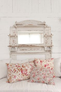 ❥ love this mantel and the pillows~ Lone Star retreat of Shabby Chic's Rachel Ashwell