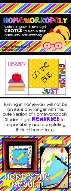 UPDATED!  (Being offered at a discount!) Year after year, this product encourages students to HAPPILY complete their homework!  I have done this for years, and it has HANDS DOWN increased the percentage of kids that turn in their homework on a daily basis.  This is a classroom MUST HAVE! $