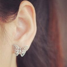 925 Sterling Stereoscopic Vintage Cute Butterfly Hand-made Stud Earrings