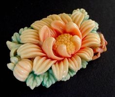 GENUINE Vintage CELLULOID Brooch MUM Flowers Signed Japan c.1930's from yearsafter on Ruby Lane