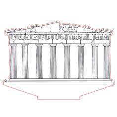 Parthenon 3d illusion lamp plan vector file for CNC - 3bee-studio