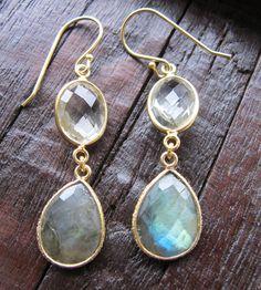 Green Amethyst and Labradorite Earrings Gemstone Dangle by Belesas, $49.99