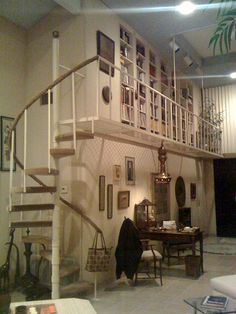 spiral staircase to library loft
