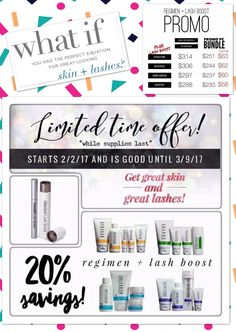 Hello Friends!  2 DAYS LEFT!! What if you could have amazing skin and lashes at a discount?! The special Regimen and Lash Boost bundle is almost over...if you've been thinking about it, don't miss out!   www.dmoore7.myrandf.biz