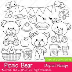 Picnic Bear  Digital stamps por pixelpaperprints en Etsy
