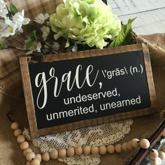 Grace definition sign | wood framed | farmhouse style | wooden sign | shelf sign | small | 12x7"