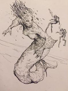 Karl Kopinski Art Sketches, Art Drawings, Character Art, Character Design, Amazing Drawings, Fantasy Illustration, Mermaid Art, Creature Design, Art Sketchbook