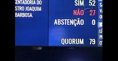 Controle Administrativo - quanto ao momento - Controle prévio - Senado aprova por 52 votos a 27  indicação de Luiz Fachin para o STF