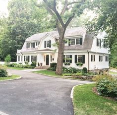 A little neighborhood house peeping on our evening walks. Gotta say, wouldn't mind pulling in to all this lovely. Dutch Colonial Exterior, Dutch Colonial Homes, Craftsman Exterior, Exterior Shutters, Craftsman Style, Exterior Paint, Gambrel Roof, Classic Architecture, Stone Houses
