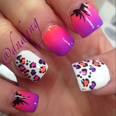 I totally love the white nails with colored cheetah!
