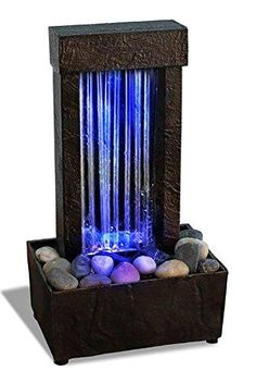 Water Fountain For Home, Indoor Tabletop Water Fountain, Table Fountain, Indoor Water Fountains, Fountain Lights, Fountain Garden, Fountain Ideas, Fountain Design, Waterfall Lights