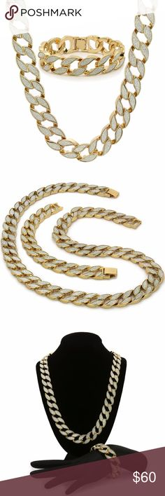 53d419bc2cb47 Mens Gold Finish STARDUST SANDSTONE HipHop Miami C Item  Stardust Sandstone Cuban  Chain Necklace  amp