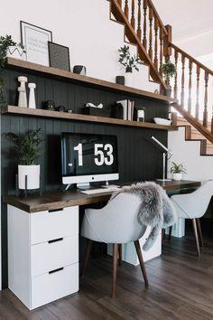 Our DIY Computer Desk Reveal – Love Create Celebrate – Home Office Design Diy Home Office Space, Home Office Design, Home Office Decor, House Design, Home Decor, Diy Office Desk, Modern Office Desk, Black Office Desk, Office Nook