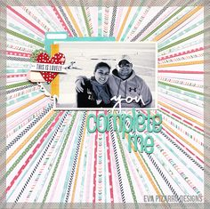 #papercraft #scrapbook #layout.   scrap  co: Pebbles Garden Party Layout with strips of paper by Eva Pizarro.
