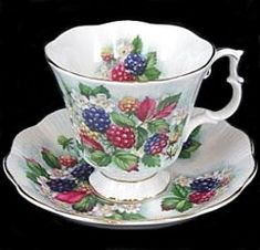 Royal Albert - B Page www.royalalbertpatterns.com. Orchard Series, Blackberry Lane pattern. Cup style is Gainsborough; made 1970s-1980s. Six different fruits in the series.