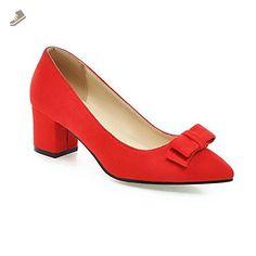 BalaMasa Womens Bows Chunky Heels Low-Cut Uppers Red Fabric Pumps-Shoes - 8 B(M) US - Balamasa pumps for women (*Amazon Partner-Link)