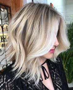 Wavy Choppy Blonde Balayage Lob