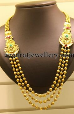 Jewellery Designs: Gold Beads Necklace with Motifs