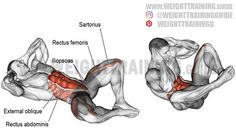 Frog crunch with leg raise exercise instructions and video Frog crunch with leg raise. Target muscles: Rectus Abdominis and Iliopsoas. Synergists: Internal and External Obliques, Rectus Femoris, and Sartorius. Gym Workout Tips, Abs Workout Routines, Weight Training Workouts, Workout Challenge, Fun Workouts, Workout Fitness, Training Exercises, Plank Workout, Workout Schedule