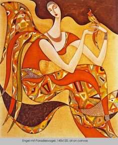 Wlad Safronow - From his Secession series of Paintings: title is 'Angel with Paradise  Bird'  size: 140 x 120 (oil on canvas) ✿≻⊰❤⊱≺✿