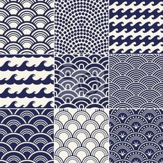 Illustration of seamless ocean wave pattern vector art, clipart and stock vectors. Boho Pattern, Wave Pattern, Pattern Art, Pattern Design, Japanese Textiles, Japanese Patterns, Japanese Design, Japanese Art, Japanese Painting