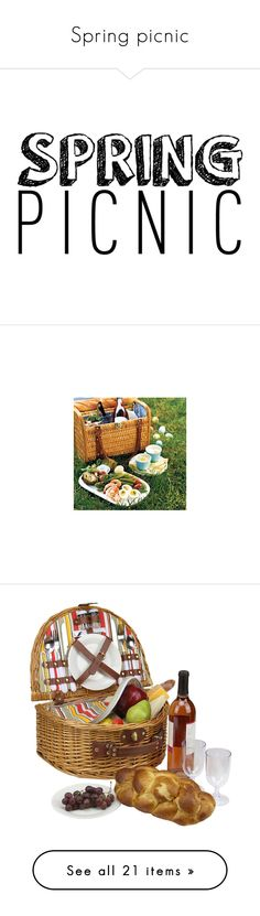 """Spring picnic"" by sarahgeorge258 ❤ liked on Polyvore featuring text, backgrounds, words, quotes, articles, phrase, saying, home, kitchen & dining and food storage containers"