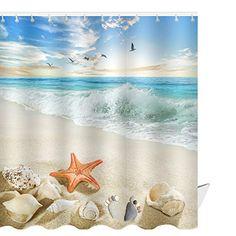 Seashells Ocean Decor Nautical Picture Bright Sunny Sand Waves Shower Curtain