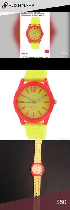 Geneva Platinum Watch Geneva Platinum Women's Watch. Yellow Silicone Band, Japanese Quartz, needs a battery. NWOT NWI☺️ Geneva Platinum Other