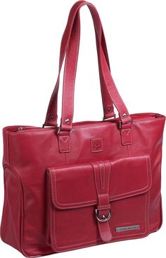 What a cute leather laptop tote!