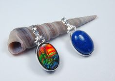18x13mm Quality Ammolite and Lapis Lazuli back to back in 2in1 pendant. - Ammolite Jewelry From Canada