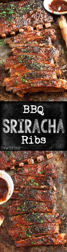 BBQ Sriracha Ribs -- SO flavorful - savory, sweet, zesty, amazing! Fall-off-the-bone tender. You'll never look back. Rib Recipes, Grilling Recipes, Cooking Recipes, Cake Recipes, Smoker Recipes, Barbecue Recipes, Recipes Dinner, Chicken Recipes, I Love Food
