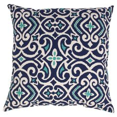 """Blue/White Damask Square Throw Pillow Collection (18""""x18"""") - Pillow Perfect"""