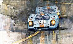 Yurly Shevchuk WATERCOLOR Porsche 917k Gulf Le Mans 24 1970 Painting