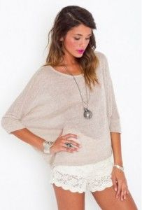 So cute! I love the tan sweater with crochet white shorts :)