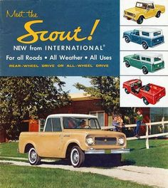 Retro road trip, anyone? Vintage car ad of an International Harvester Scout.