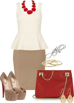 Tan pencil skirt w/ Red accessories