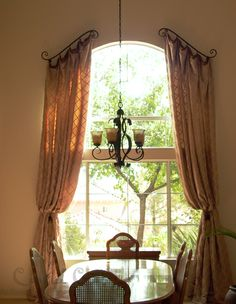 Curtains for Bay Windows | Scroll Rods & Contrast Headers on an Arched Window
