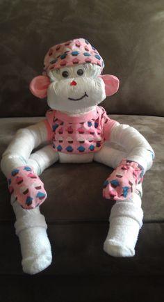 Baby Shower + diaper cakes Girls Diaper Monkey made by www.CornerStorkBakery.com