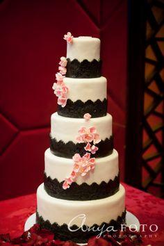 Wedding Cakes anyafoto.com #wedding #weddingcakes, wedding cake ideas, wedding cake desings, white wedding cake, 5 tier wedding cake, black lace wedding cake, sugar flowers, cherry blossom wedding cake