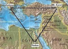 Oracles: (Oracle centres, Sybils) The Geodetic placement of Oracle centres. It is sufficient for present to demonstrate the strength of the connection between the regions of Mt. Ararat and that of Dodona, both sharing the same mythological 'fingerprint', both on the same latitude, and both equally distanced from Thebes, the ancient navel of Egypt.