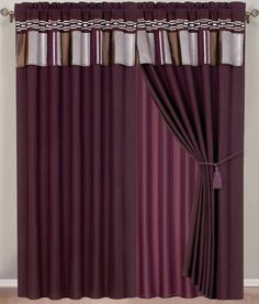bedroom curtains with attached valance