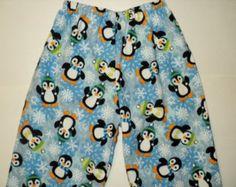 Kids Christmas PJ Pants, Matching Pajama Pants, Flannel Lounge Pants, Holiday PJ Pants, Penguin, Pajama Bottoms, Flannel Pants Made To Order