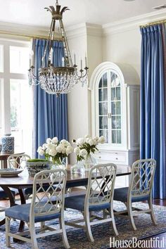 SO INCREDIBLY BEAUTIFUL IN BLUE & WHITE! - LOVE THE GLORIOUS CHAIRS, BLUE CURTAINS, GORGEOUS CHANDELIER & STUNNING DECOR, OF THIS AWESOME DINING ROOM!!
